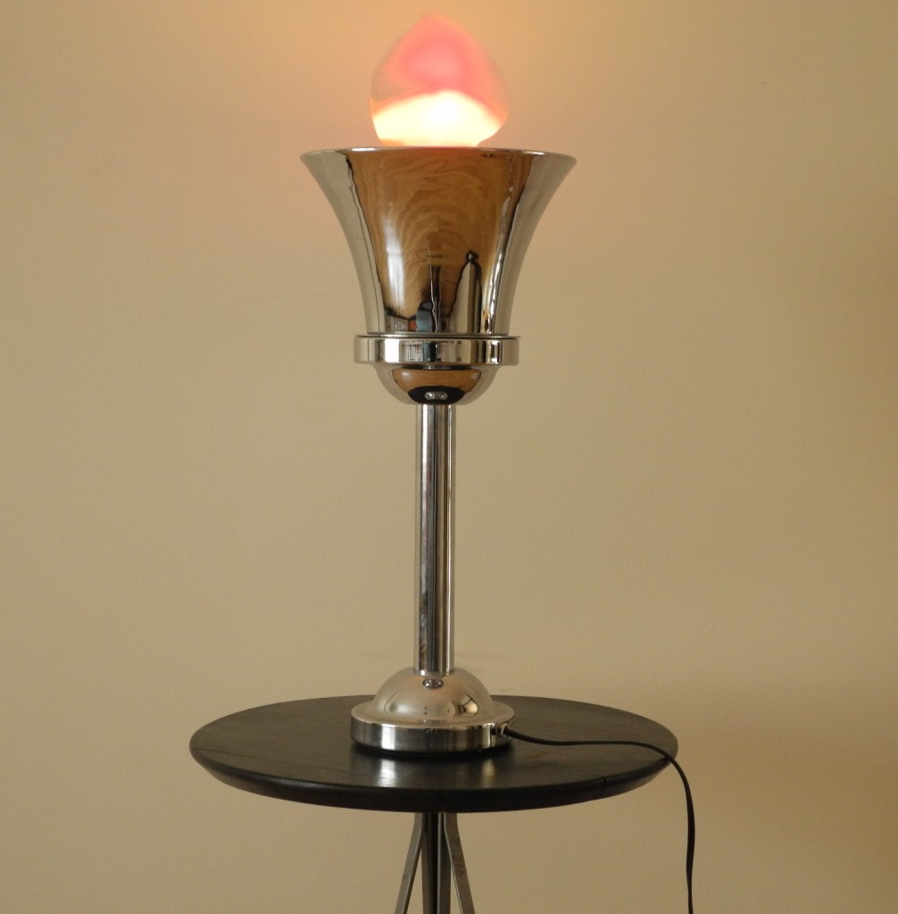 Lampe table flambeau chrome L'Allumeur luminaire 1875