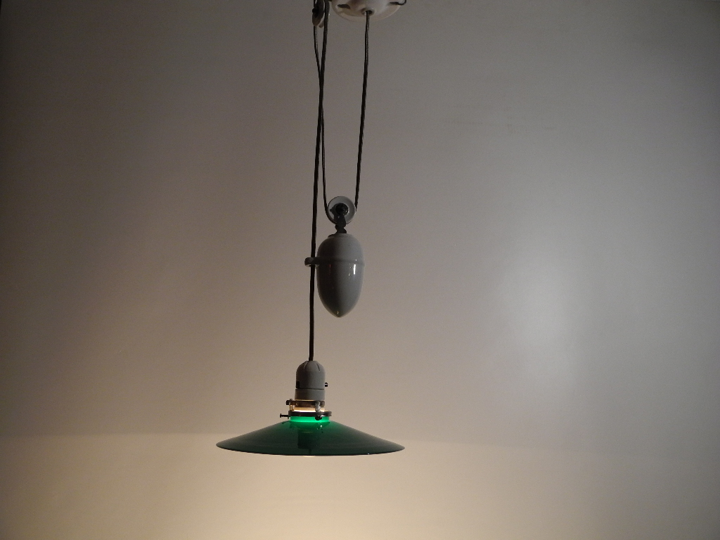 Lampe éclairage poulie porcelaine lighting lamp