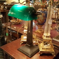 lampe de banquier antique Robert Schwartz New-York l'Allumeur