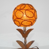Lampe table teck lucite spaghetti orange mid-century L'allumeur J131